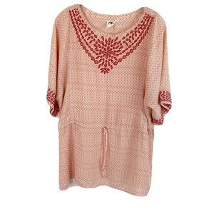 One September Printed Blouse Embroided Boho M